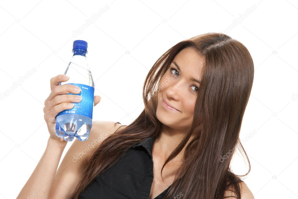 Womanl hold bottle of pure still drinking water. Female holding in hand sparkling mineral bottled water isolated on a white background  — Stock Photo #7135218