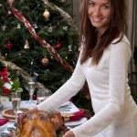 familjens julfirande middag rostade Turkiet — Stockfoto #7669804