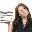 Woman student hold books, textbooks, notebook ,homework — Stock Photo