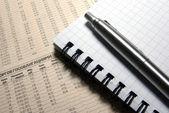 Penna och anteckningsbok på finansiell tidning. — Stockfoto
