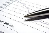 Steel pen macro on financial report. — Stock Photo