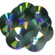 Stack of recordable discs isolated on white background. — Stock Photo