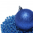Blue christmas ball and ornaments isolated on white background. — Stock Photo