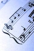 Close-up van oude muzikale blad fragment. — Stockfoto