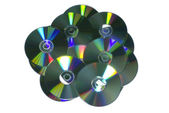 Stack of recordable discs isolated on white background. — 图库照片