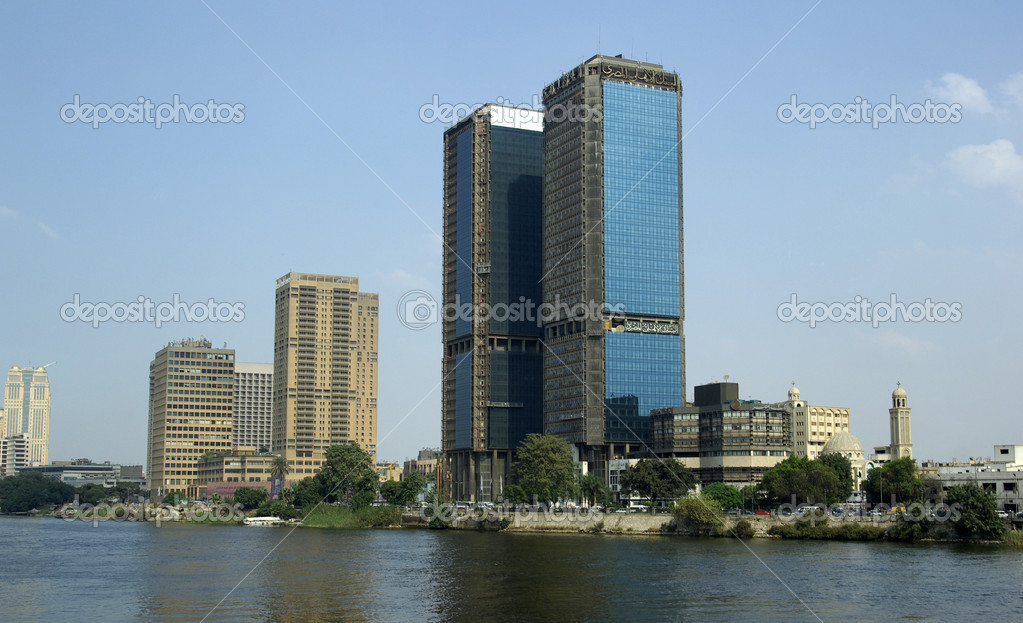 View of Cairo. Modern skyscrapers of League of Arab States. Nile river.  Stock Photo #7593449
