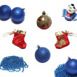 Stock Photo: Set of christmas balls, ornaments and red holiday stockings. Iso
