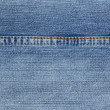 Blue jeans with yellow stitches background. — Stock Photo