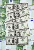 Euro vs dolar para kavramı. — Stok fotoğraf
