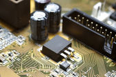 Motherboard's fragment macro photography. Focus on IDE. — Stock Photo