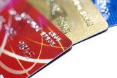 Creditcards geïsoleerd op een witte achtergrond met schaduw. selectieve — Stockfoto
