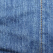 Blue jeans with vertical yellow stitches abstract textured backg - Stock Photo