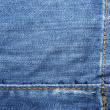 Blue jeans with yellow stitches abstract textle background. - Stockfoto