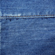 Blue jeans with yellow stitches abstract textile background. - Stock Photo