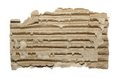 Striped cardboard piece isolated on white background. — Stock Photo