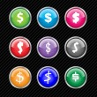 Set of vector buttons with different variations of dollar sign s — Imagen vectorial