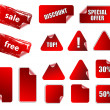 Collection of promotion vector labels. Different shapes, easy to — Imagens vectoriais em stock