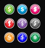 Set of vector buttons with different variations of dollar sign s — Stock Vector