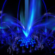 Digitally rendered blue fountain of plasmflame on black. — Stock Photo #7951299