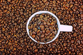 White cup full of coffee on brown roasted beans background. — Stock Photo