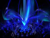 等离子火焰在黑色的数字呈现蓝泉. — 图库照片
