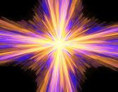 Digitally rendered abstract multicolored exploding supernova on — Stock Photo