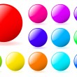 Set of multicolored glossy vector spheres with shadow. Perfect f — Stockvektor