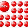 Set of vector aqua style red discount buttons. Easy to edit, any — Stockvectorbeeld