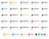 Set of vector aqua web 2.0 site navigation buttons. Easy to edit — Vetor de Stock