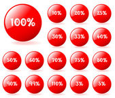Set of vector aqua style red discount buttons. Easy to edit, any — Stock Vector