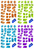 Collection of multicolored vector sticky marketing labels. Perfe — Stock Vector