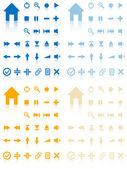 Collection of vector buttons with reflection. Active and inactiv — Stock Vector