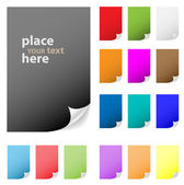 Collection of vector multicolored paper with peeled corner. Perf — Stock Vector