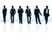 Set of dark blue vector businessman silhouettes in suits. More i — Vetor de Stock