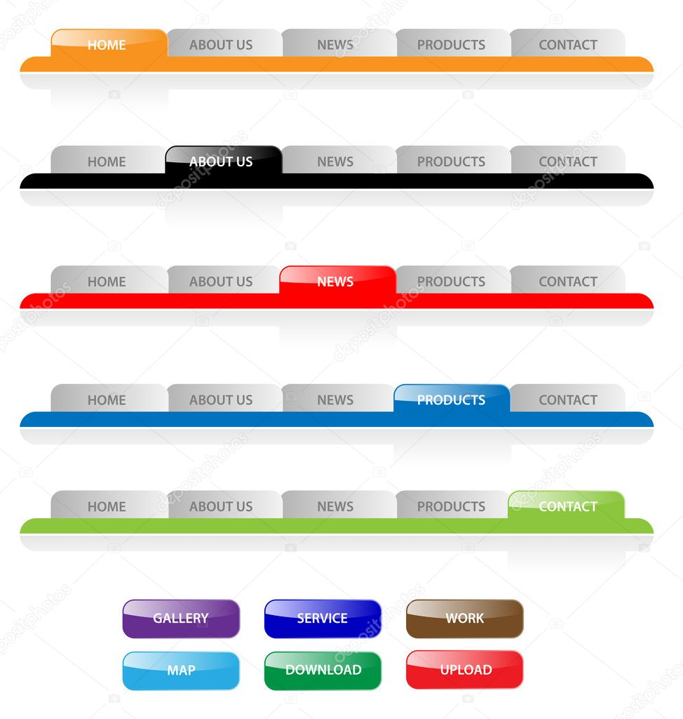 Set of vector aqua web 2.0 site navigation tabs and buttons. Eas ...