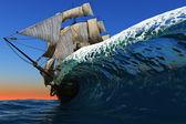 Veleiro no mar. — Foto Stock