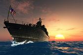 The military ship — Stock Photo