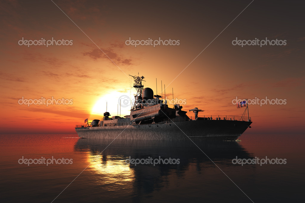 The military ship in the sea  — Stock Photo #7108258