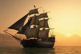 Zeilboot in de zee. — Stockfoto