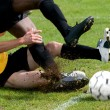 Tackle at football — Stock Photo