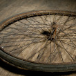 Old retro bike wheel — Stock Photo