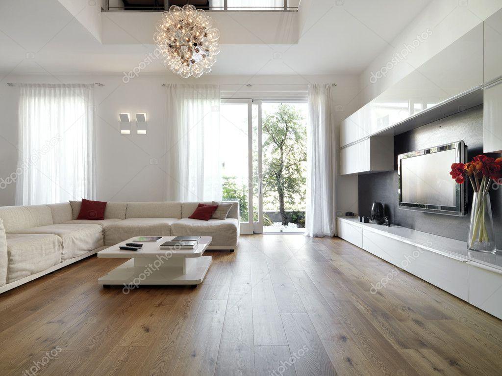 Descargar  Moderno living comedor con piso de madera — Imagen de