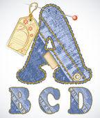 Denim font with flower label — Stock Vector