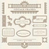 Set of design elements: labels, borders, frames — Stock Vector