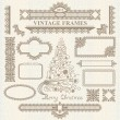 Stock Vector: Christmas vector vintage elements set.