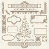 Christmas vector vintage elements set. — Stock Vector