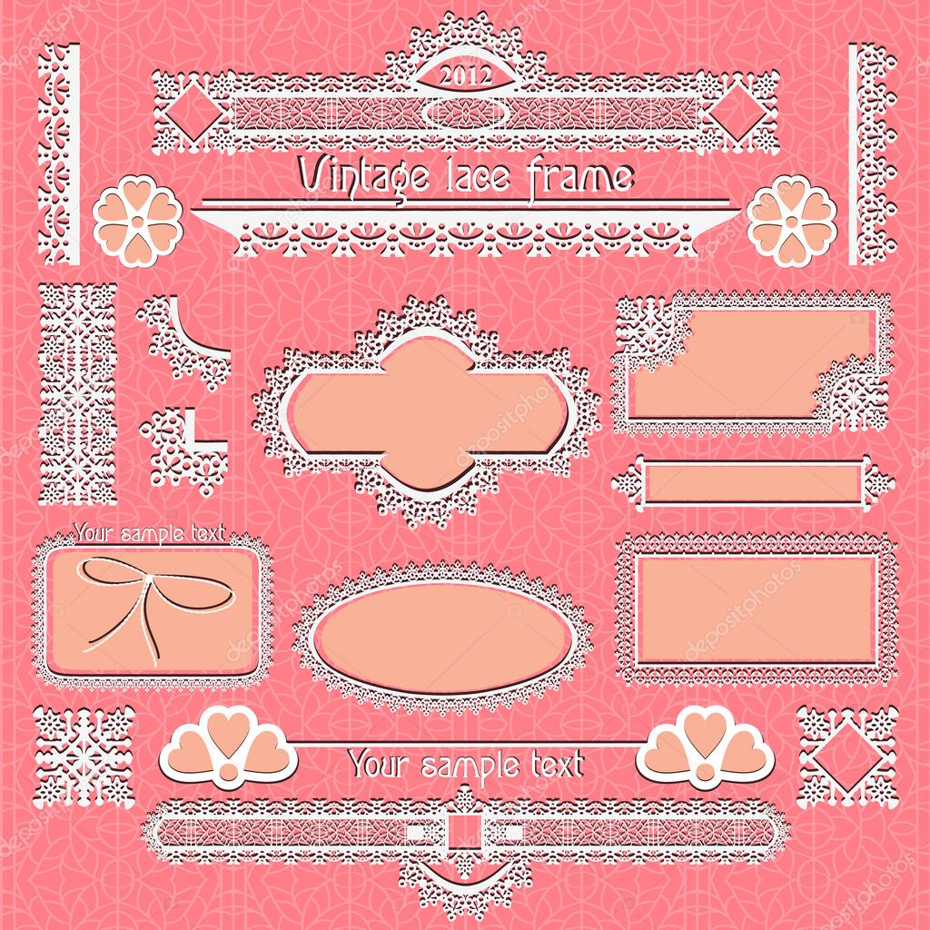 Vector set of vintage framed ornate labels  — Stock Vector #7881761