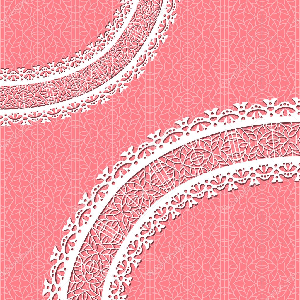 Red vector card with a figured lace. Ornamental background — Stock Vector #7936070