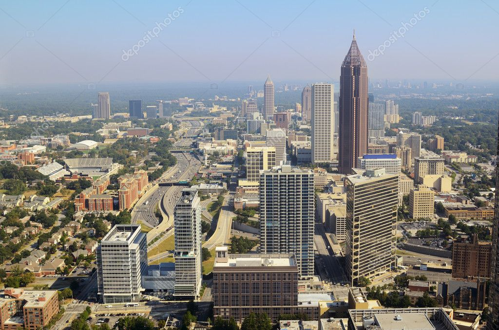Aerial view of urban skyscrapers in downtown Atlanta, Georgia, USA. — Stock Photo #6862341
