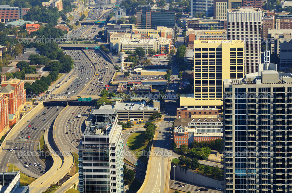 Interstate 85 winds through downtown Atlanta, Georgia, USA. — Stock Photo #6862350